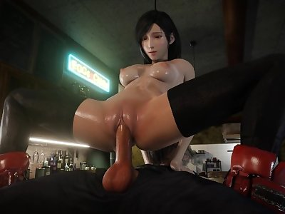 The Bartender Tifa Lockhart Pussy Rub On Cock and Rides It