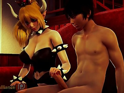 BOWSETTE HELPS A GUY RELEASE TENSION / 3D Hentai MARIO