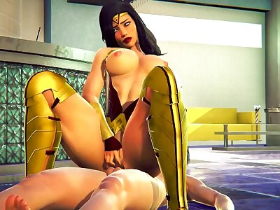 WONDER WOMAN FUCKS ON RECEPTION / 3D HENTAI SUPERMAN