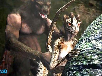 A Werewolf and an Argorian Maiden Merged in a Passionate Coitus (Skyrim / Hentai)