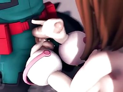 Ochaco Uraraka handjob and facial