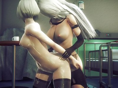 2B learns about sexual pleasure with futa 2A(3D PORN)[Nier: Automata]
