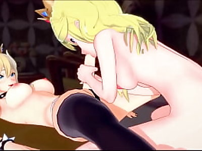 Bowsette fucks Peach against the wall with a strapon. Hentai.