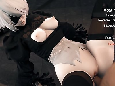 2B from NieR Automata likes to fuck and suck cock in her free time