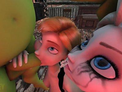 SHREK FUCK ELSA AND ANNA FROM FROZEN PART 1