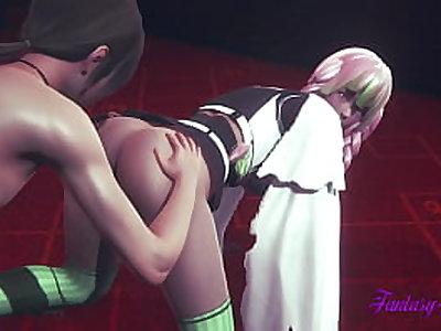 Kimetsu No Yaiba Hentai - Mitsuri cunnilingus, dildo and fucked