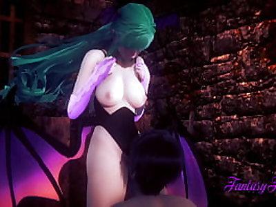 Darkstalkers Hentai - Morrigan  Blowjob and fucked with multiple cum - Anime Manga Porn