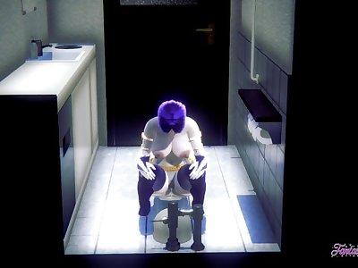 Teen Titans Hentai - Raven peeing in a japanese toilet