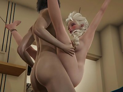 Elsa rides cock, then gets fucked while hanging from rope - Frozen Hentai.