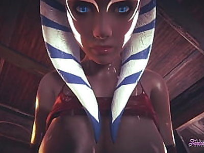 Starwars Hentai POV Ahsoka 3D 4D - blowjob and fucked cowgirl stily with creampie