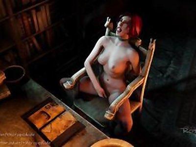 Triss masturbate in self-bondage (The Awakening)