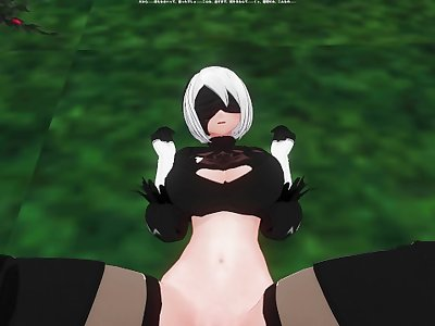 3D HENTAI POV 2B squirts on your cock
