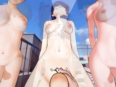 Persona 4 futa girls gangbang Chie,Yukiko,Rise&Naoto Taker POV