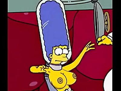 Mãe do bart Simpsons dando pro pai do bart simpsons