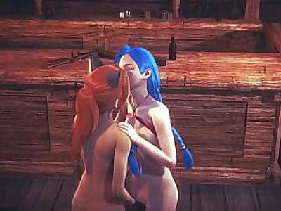 League of leguends LOL Hentai 3D - Jinx Jinx has sex in a tavern - Japanese asian manga anime porn