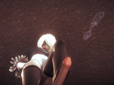 Nier automata 2B does tremendous footjob with her stockings