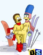 Both Flanders and Marge are loony about skiing and about making porn. That day they united these 2 desires into one in a fascinating sex action