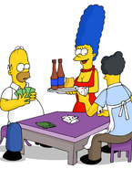 Homer is having poker night with Moe, and Marge is making sure she keeps them entertained. She knows well that Moe has a hard-on for her