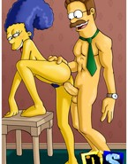 Cock-hungry Marge Simpson reveals her desire to satisfy her neighbor, Ned Flanders, with her snatch and with her hunger for sultry fuck actions