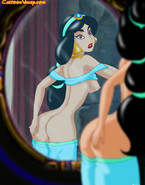 Though Aladdin does everything to satisfy his beautiful wife Jasmine, it turns out that this cutie masturbates every night in front of a mirror.