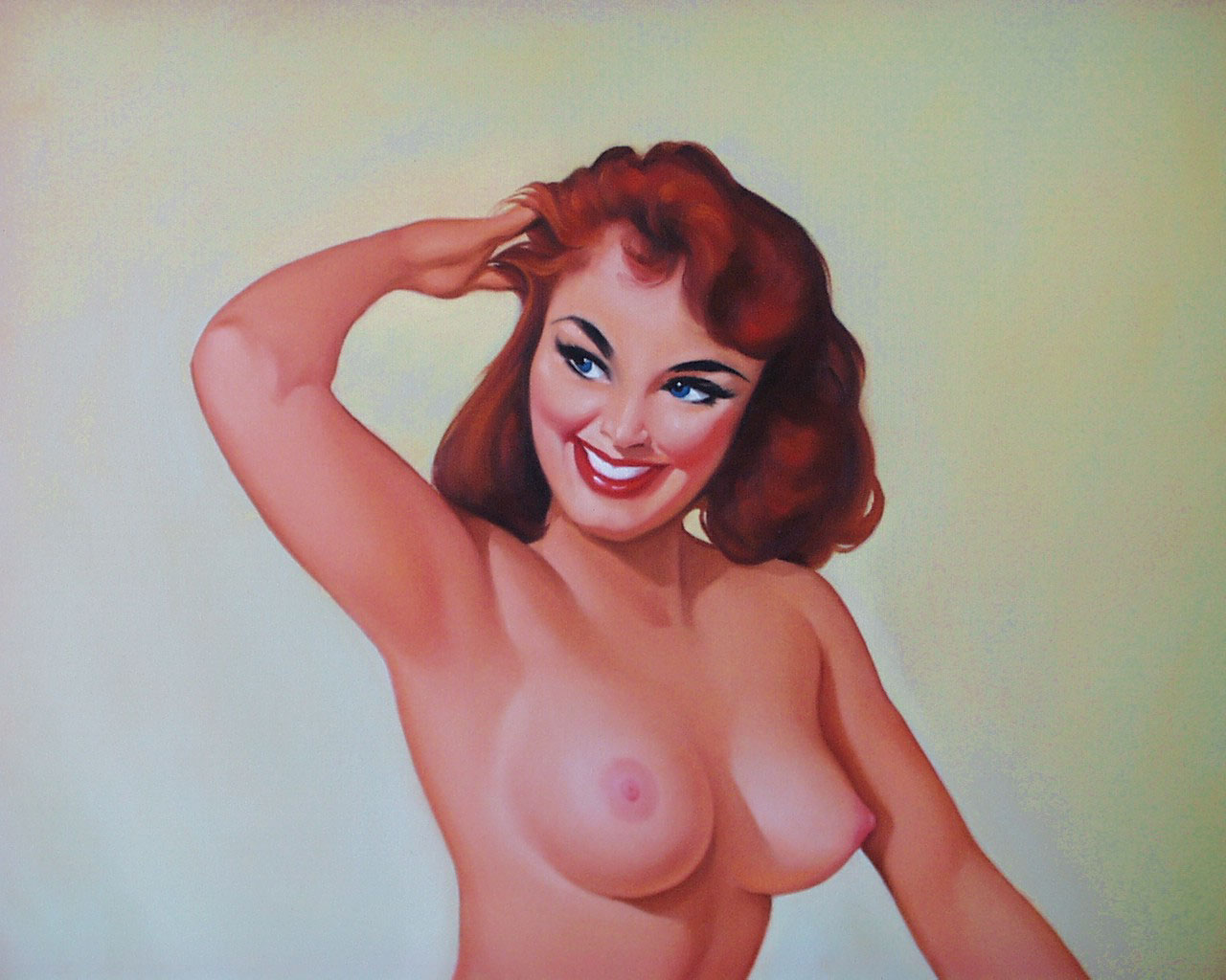 Vintage nude pinup wood print by esoterica art agency