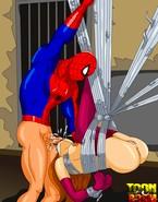 Bossy fucker Spider-Man plugs his bound slavegirl's throat in incredibly graphic toon porn
